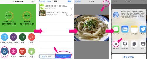 USBの画像をiPhoneのカメラロールに送る(クリックで拡大)